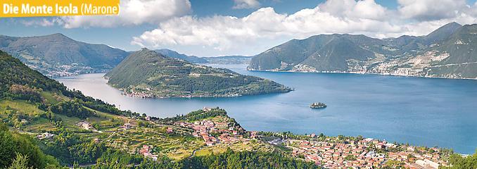 Das Bild zeigt den Iseosee, den Ort Marone und die Monte Isola.